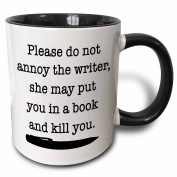 3dRose Please Do Not Annoy The Writer Black - Two Tone Black Mug, 330ml (mug_223960_4), 330ml, Black/White