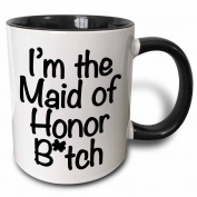 3dRose mug_178115_4 I'm The Maid of Honour Btch, Black Two Tone Black Mug, 330ml, Black/White
