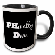 3dRose PHD, Phinally done - Two Tone Black Mug, 330ml (mug_216379_4), 330ml, Black/White
