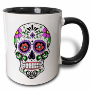 3dRose mug_186236_4 Sugar Skull, Pink Two Tone Black Mug, 330ml, Black/White