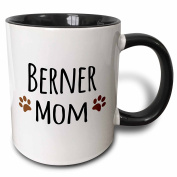 3dRose Berner Mom Bernese Mountain Dog Doggie By Breed Brown Muddy Paw Prints Doggy Lover Pet Owner Two Tone Black Mug, 330ml, Black/White