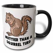 3dRose 3dRose Funny Nuttier Than A Squirrel Turd Animal Humour - Two Tone Black Mug, 330ml (mug_102586_4), , Black/White