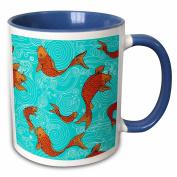 3dRose Arts and Crafts Style Koi Fish in Water Ceramic Mug, 330ml