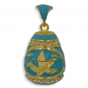 Gold Bird on Turquoise Enamel Russian Faberge Egg Pendant Necklace 48cm