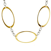 ELYA Two-Tone Oval Cutout Link Necklace