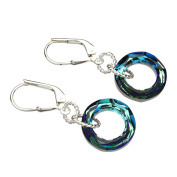 Elements Crystal Round Ring Donut Sterling Silver Leverback Earrings