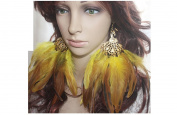 Feather Earrings for Women Yellow Peacock Feather Earrings for Women