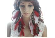 Long Earrings for Women Cheap Red White Natural Feather Earrings