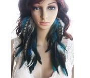 Earrings for Teen Girls Cheap Blue Natural Feather Earrings