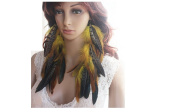 Yellow Long Feather Earrings for Women Natural Feather Earrings