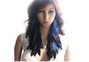 Long Feather Earrings for Women Navy Blue Natural Feather Earrings