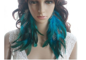 Long Feather Earrings for Women Chain Blue Natural Feather Earrings