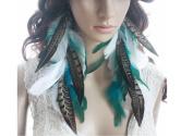 Long Feather Earrings for Women Feather Earrings White Blue
