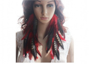 Long Feather Earrings for Women Natural Feather Earrings Red Love