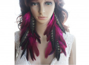 Long Feather Earrings for Women Natural Feather Earrings Hot Pink