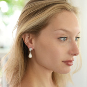Mariell Pear-Shaped Cubic Zirconia Wedding Earrings for Brides with Bold Soft Cream Pearl Drops