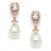 Mariell Rose Gold Pear-Shaped Cubic Zirconia Wedding Earrings for Brides with Bold Soft Cream Pearl Drops