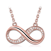 "J.NINA ""Infinite Forever"" Golden Plated Pendant Bib Necklace Women Jewellery, Made with Crystals"