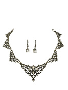 Sweet Lace Look with Rhinestones Boutique Statement Necklace Earrings Set - Assorted colours
