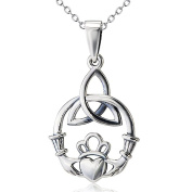925 Sterling Silver Celtic Love by Kelly Hands Holding Crown Heart Claddagh Pendant Necklace, 46cm