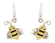 Honey Bee or Bumble Bee Dangle Earrings in Mixed Metals