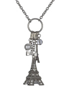 Eiffel Tower Paris Theme 90cm Necklace Imitation Pearl & Bow Ribbon by Jewellery Nexus