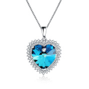 "Osiana ""Heart of Ocean"" Elements Crystal CZ Plated GP Pendant Necklace18"""