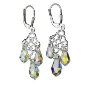 Aurora Borealis Elements Crystal Teardrops Sterling Silver Floral Link Leverback Earrings