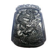 Natural Black Jade Dragon Pendant Amulet Mascot