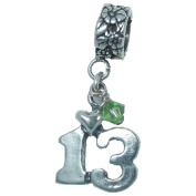 Thirteen, 13, August Peridot Birthstone Sterling Silver Dangle Charm