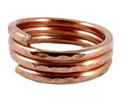 Solid Copper Ring Stackable Spiral Three Loops Size 8 Hand Hammered