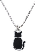 Silver Plated Box Style Necklace with Black Sitting Cat Pendant-46cm