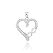 925 Sterling Silver Polised Infinity Open Heart Charm Pendant