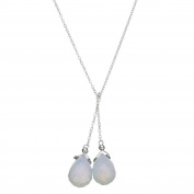 Faceted Opalite Glass Briolette Lariat Sterling Silver Chain Necklace