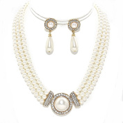 Simple Statement Multi Layered Strands Cream Pearl Crystal Elegant Necklace Earrings Set Gift Bijoux