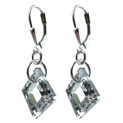 14mm Earrings Made With Crystal Elements Cosmic Square Ring, Sterling Silver Leverback.