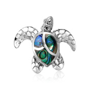 925 Sterling Silver Abalone Shell Sea Turtle Pendant Necklace 46cm for Women
