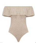 Hot-Fashion Womens Ladies Bardot Off Shoulder Sleeveless Frill Bodysuit Leotard Top 8- 14