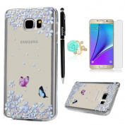 Note 5 Case,Samsung Galaxy Note 5 Case - Shock-absorption Soft Flexible TPU Slim Fit Protective Gel Bumper Crystal Clear Colourful Patterns Rubber Skin Gel Case Cover by Badalink