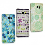 Note 5 Case,Samsung Galaxy Note 5 Case - 3 Pcs Full Edge Protective Ultra-thin Slim Fit Hard PC Light Weight Colourful Print Patterns Crystal Clear Bumper Protective Cover by Badalink