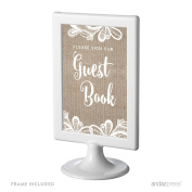 Andaz Press Burlap Lace Print Wedding Collection, Framed Party Signs, Please Sign our Guestbook, 10cm x 15cm , 1-Pack, Includes Frame