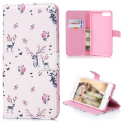 iPhone 7 Plus Case (14cm ) - Flip Stand Wallet Case 3D Basso-relievo PU Leather Shock-Absorption Soft TPU Inner Bumper Cute Digital Colourful Print Slim Protective Cover by Badalink - Sika Deers