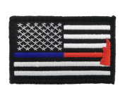 Thin Blue and Red Line Flag Police Firefighter Axe Hook and loop Fully Embroidered Morale Tags Patch