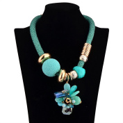 Fashion Necklaces Green Crystal Flowers Crystal Woven Chain Charm Necklace Collar Bib for Women