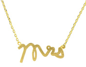 "AppleLatte ""Mrs"" Necklace, Gold Plated Pendant"