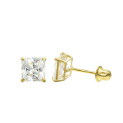 10K Yellow Gold Princess Cubic Zirconia (CZ) Double Basket Screw Back Stud Earrings - 3 mm to 10 mm