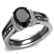 Womens Black Oval Cut CZ Two-Tone IP Light Black Stainless Steel Wedding 2 Pieces RINGS SET