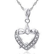 Two tone 925 sterling silver pigeon heart cubic zirconia charm pendant RO lo chain necklace 46cm