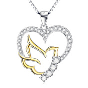 Two Tone 925 Sterling Silver Pigeon Heart Cubic Zirconia Charm Pendant Rolo Chain Necklace 46cm