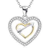 Sterling Silver Double Heart Pendant Necklace for Women, 46cm Box Chain